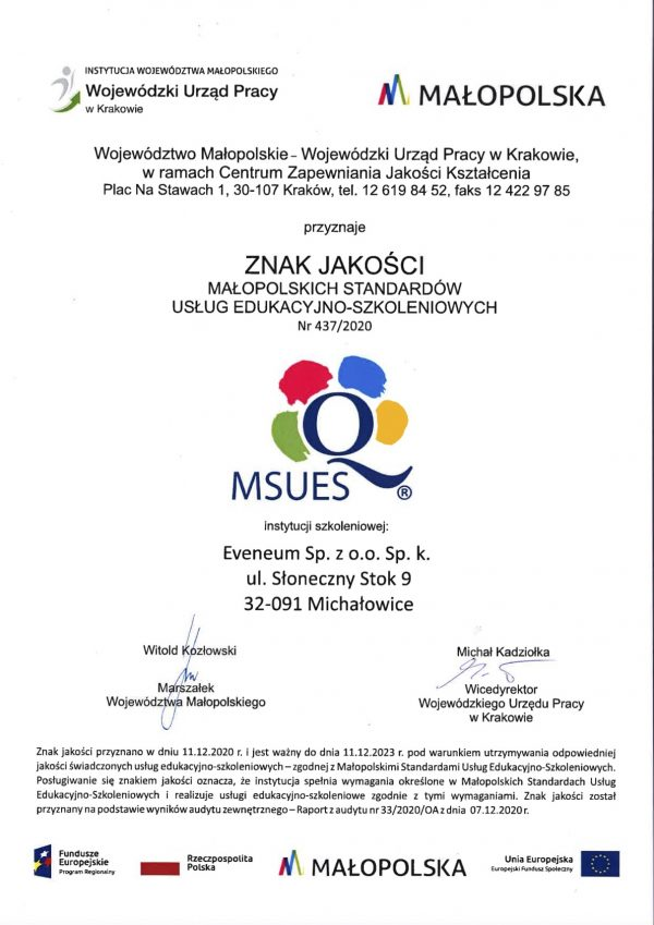 Certyfikat MSUES
